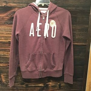 Aeropostale Women's Plum Zip Up Hood Sweatshirt XS